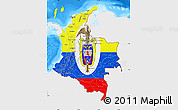 Flag Map of Colombia, single color outside, bathymetry sea