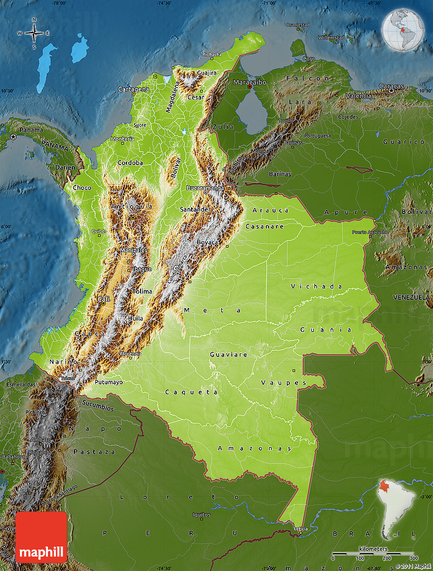 Topographic Map Of Colombia.Physical Map Of Colombia Darken