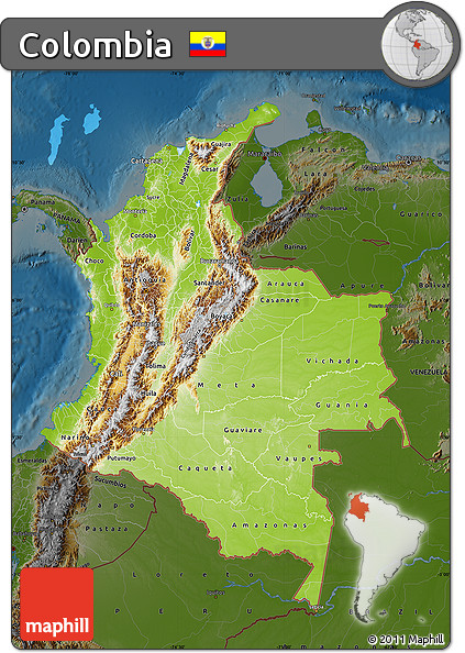 Free Physical Map Of Colombia Darken - Physical map of colombia