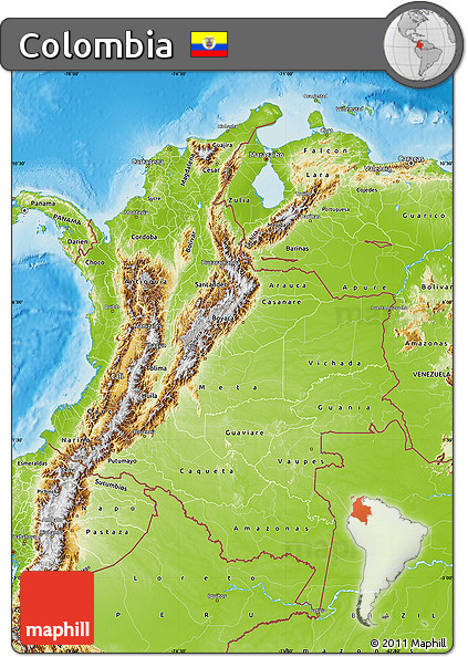 Physical Map of Colombia