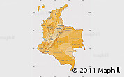 Political Shades Map of Colombia, cropped outside