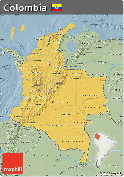 Savanna Style Map of Colombia