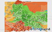 Political Shades Panoramic Map of Norte de Santander