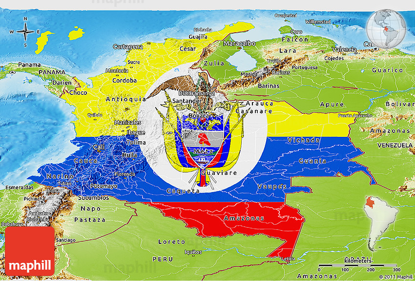 Flag Panoramic Map Of Colombia Physical Outside - Physical map of colombia