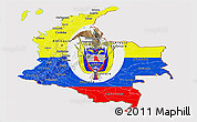 Flag Panoramic Map of Colombia