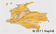 Political Shades Panoramic Map of Colombia, cropped outside