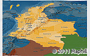Political Shades Panoramic Map of Colombia, darken