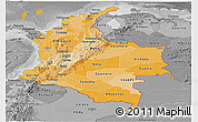 Political Shades Panoramic Map of Colombia, desaturated