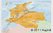 Political Shades Panoramic Map of Colombia, lighten