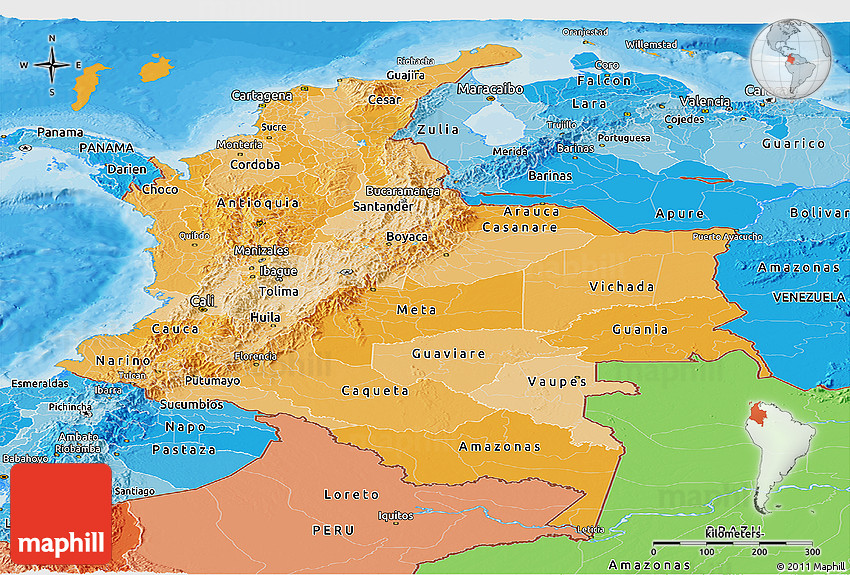 Political Shades Panoramic Map Of Colombia