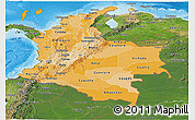 Political Shades Panoramic Map of Colombia, satellite outside, bathymetry sea