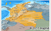 Political Shades Panoramic Map of Colombia, semi-desaturated, land only