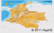 Political Shades Panoramic Map of Colombia, single color outside