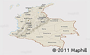 Shaded Relief Panoramic Map of Colombia, cropped outside