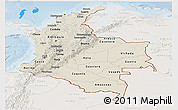 Shaded Relief Panoramic Map of Colombia, lighten