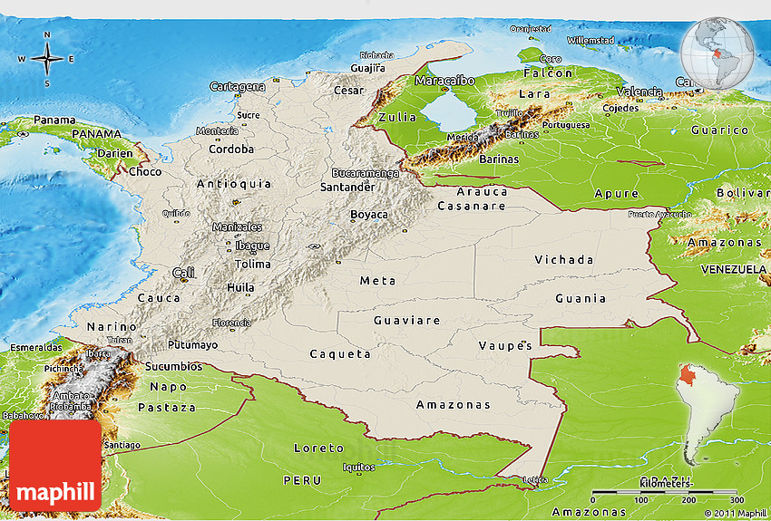 Shaded Relief Panoramic Map Of Colombia Physical Outside - Physical map of colombia