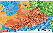 Political Shades Panoramic Map of Santander
