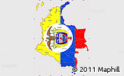Flag Simple Map of Colombia, flag aligned to the middle