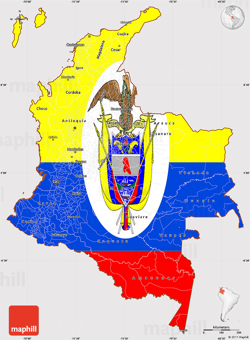 Flag Simple Map Of Colombia - Colombia map