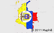 Flag Simple Map of Colombia, flag rotated