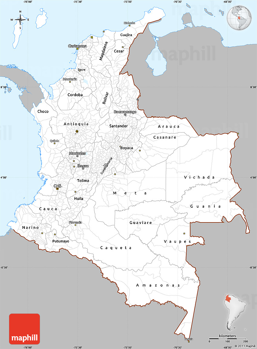 Gray Simple Map of Colombia single color outside