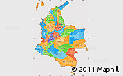 Political Simple Map of Colombia, cropped outside