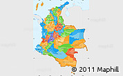 Political Simple Map of Colombia, single color outside