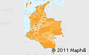 Political Shades Simple Map of Colombia, single color outside