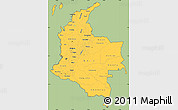Savanna Style Simple Map of Colombia, cropped outside