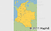 Savanna Style Simple Map of Colombia, single color outside