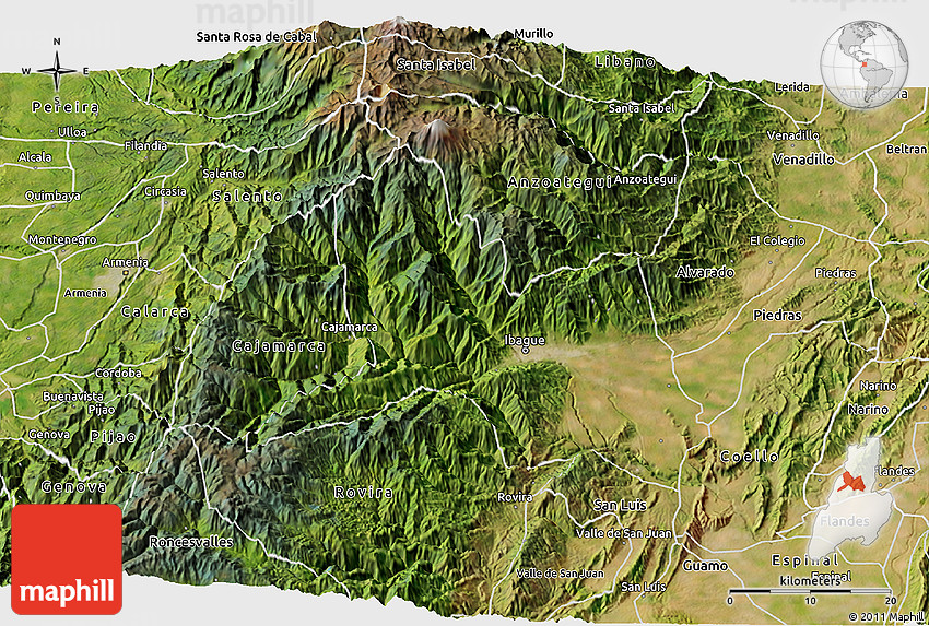 Satellite 3D Map of Ibague