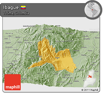 Free Savanna Style 3D Map of Ibague