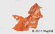 Political Shades 3D Map of Valle del Cauca, cropped outside