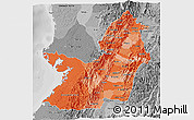 Political Shades 3D Map of Valle del Cauca, desaturated