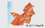 Political Shades 3D Map of Valle del Cauca, single color outside