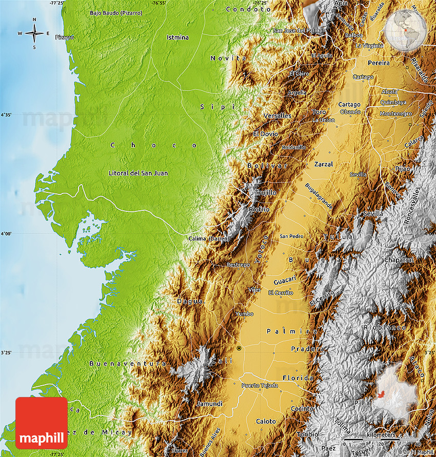 Physical Map of Valle Del Cauca on cor ca map, phuoc vinh map, ca mau map, con ca map, bat ca map, quang ngai province map, day ca map,