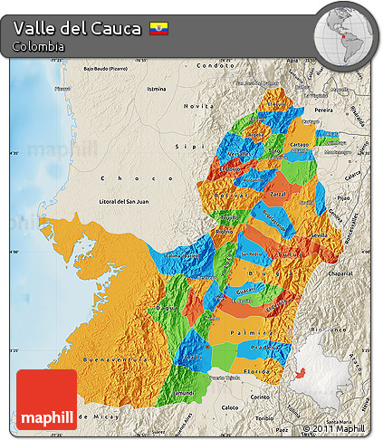Free Political Map of Valle Del Cauca, shaded relief outside on cor ca map, phuoc vinh map, ca mau map, con ca map, bat ca map, quang ngai province map, day ca map,