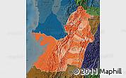 Political Shades Map of Valle del Cauca, darken