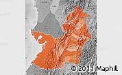 Political Shades Map of Valle del Cauca, desaturated