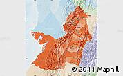 Political Shades Map of Valle del Cauca, lighten