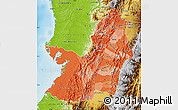 Political Shades Map of Valle del Cauca, physical outside
