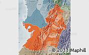 Political Shades Map of Valle del Cauca, semi-desaturated