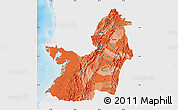 Political Shades Map of Valle del Cauca, single color outside