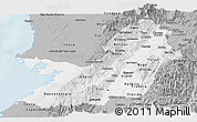 Gray Panoramic Map of Valle del Cauca