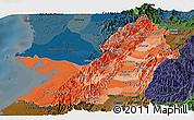 Political Shades Panoramic Map of Valle del Cauca, darken
