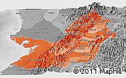 Political Shades Panoramic Map of Valle del Cauca, desaturated
