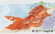 Political Shades Panoramic Map of Valle del Cauca, lighten