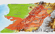 Political Shades Panoramic Map of Valle del Cauca, physical outside