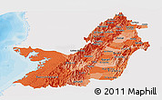 Political Shades Panoramic Map of Valle del Cauca, single color outside