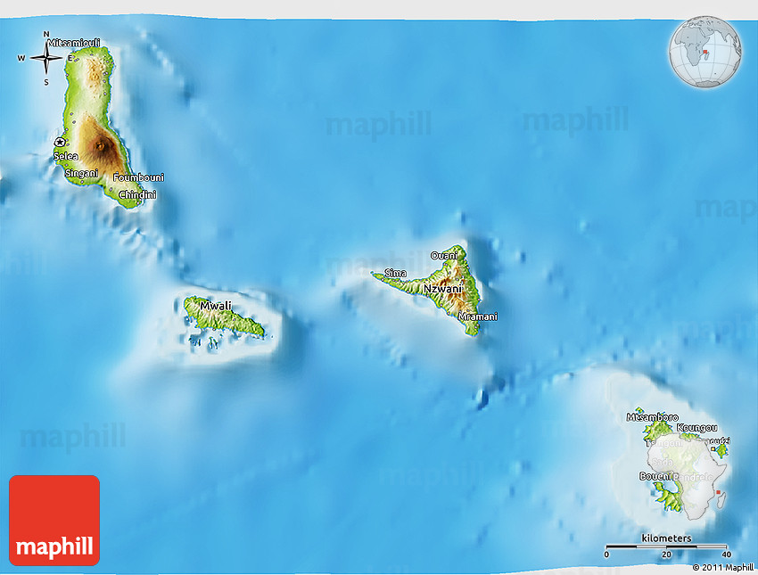 physical 3d map of comoros